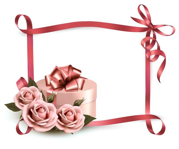 Fundo de férias com três rosas e caixa de presente e fita