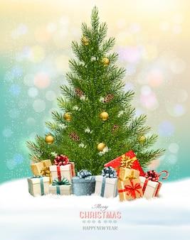 Fundo de férias com uma árvore de natal e presentes
