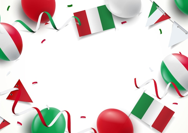 Fundo de férias da itália com bandeiras de balões