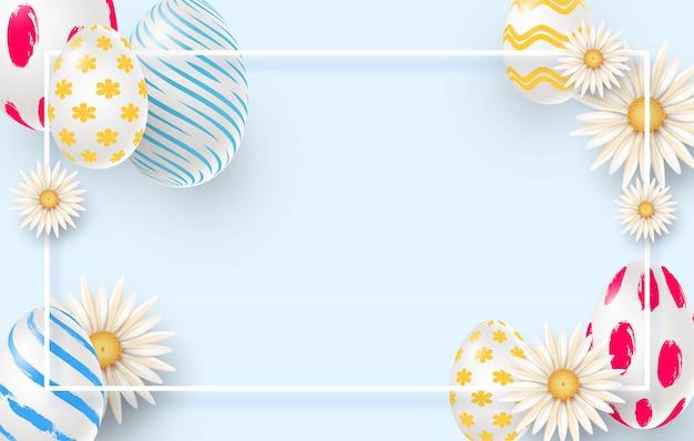 Fundo de férias da páscoa com ovos de páscoa 3d, margaridas e moldura quadrada. imitação de pinceladas.