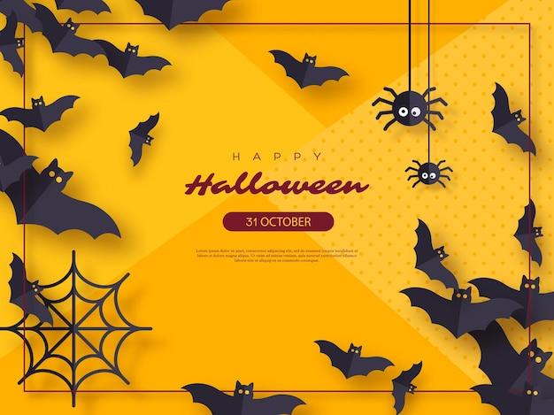 Fundo de férias de halloween. estilo de corte de papel voando morcegos e aranhas. fundo de cor amarela com moldura e texto de saudação. ilustração vetorial.