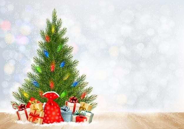 Fundo de férias de natal com caixas de presente e árvore de natal