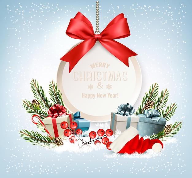 Fundo de férias de natal com caixas de presente e cartão-presente com laço vermelho