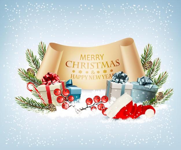 Fundo de férias de natal com caixas de presente e chapéu de papai noel