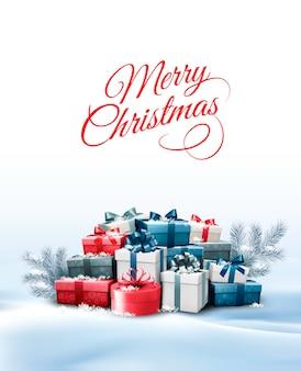 Fundo de férias de natal com caixas de presente