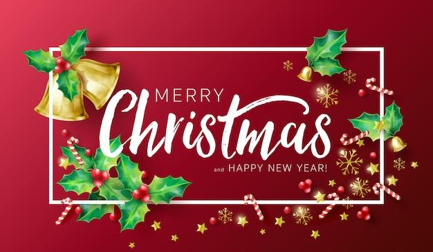 Fundo de férias de natal com desejos de temporada e borda decorada com ramos de azevinho, estrelas, bastões de doces, flocos de neve e sinos