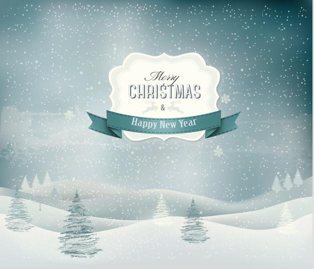 Fundo de férias de natal com paisagem de inverno