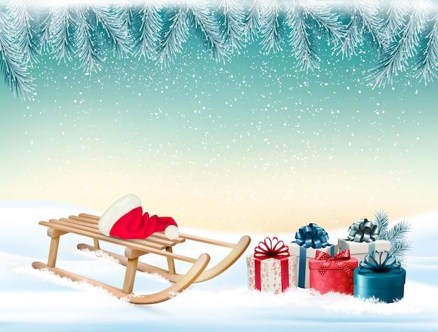 Fundo de férias de natal com presentes e um trenó
