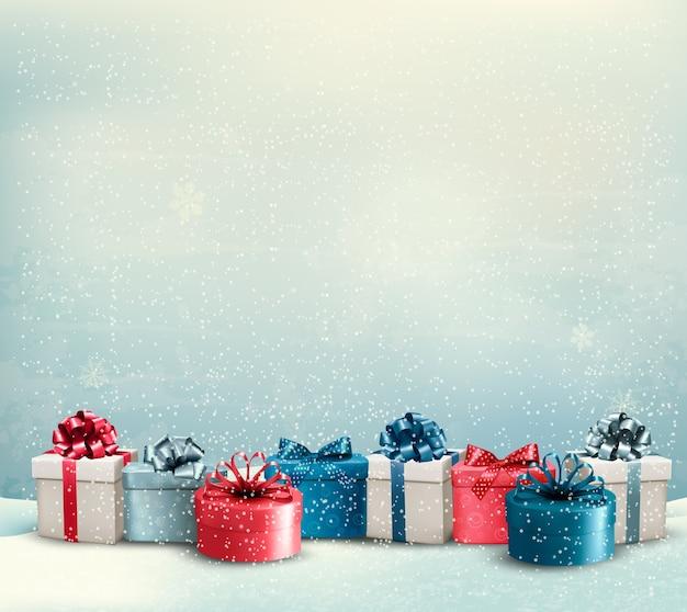 Fundo de férias de natal com uma borda de caixas de presente.