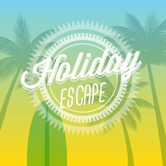 Fundo de férias de praia com palmeiras