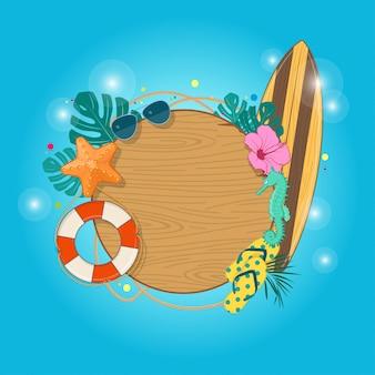 Fundo de férias de verão com folhas tropicais, estrelas do mar, óculos de sol, prancha de surf, bóia salva-vidas e placa de madeira. ilustração