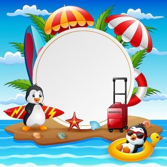 Fundo de férias de verão com pinguins na ilha