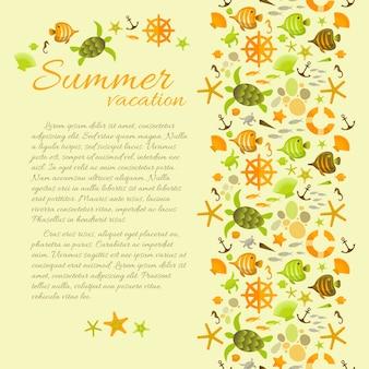 Fundo de férias de verão com texto emoldurado por ilustrações de elementos do mar.