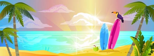 Fundo de férias de verão na praia em design plano