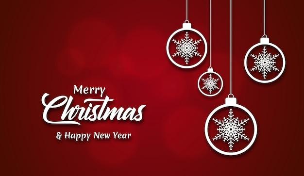 Fundo de férias feliz natal com bolas decorativas de natal