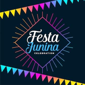 Fundo de férias festa junina com decoração colorida guirlandas