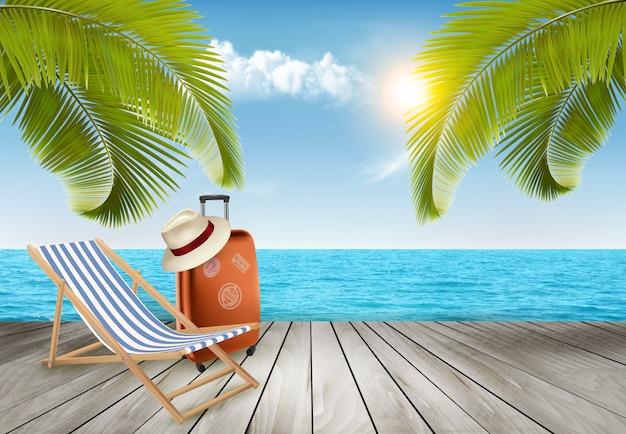 Fundo de férias. praia com palmeiras e mar azul.
