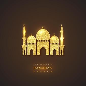 Fundo de férias ramadan kareem. projeto brilhante de brilho, fundo preto. ilustração.