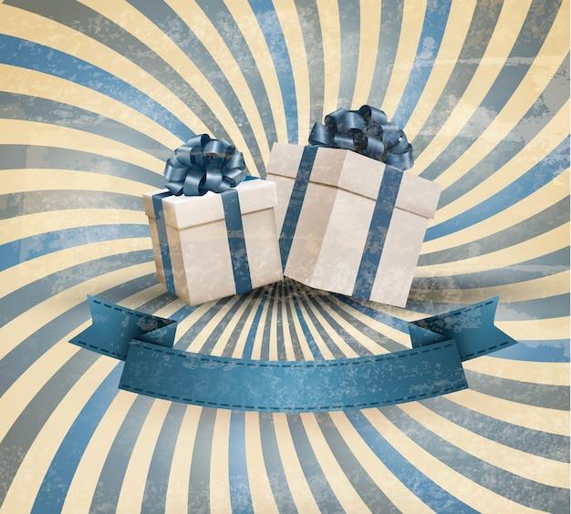 Fundo de férias retrô com fita de presente azul e caixas de presente