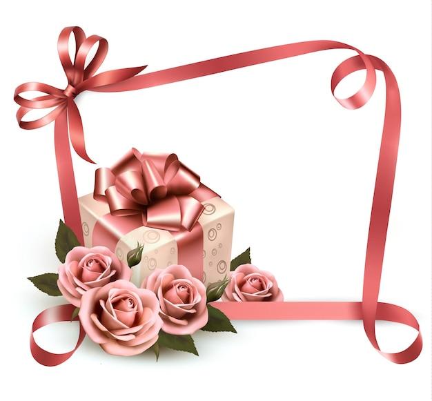 Fundo de férias retrô com rosas cor de rosa e caixa de presente.