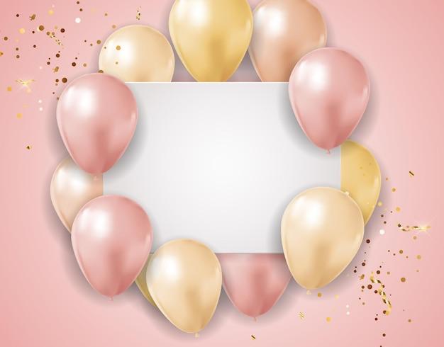 Fundo de férias rosa brilhante festa com balões e confetes.