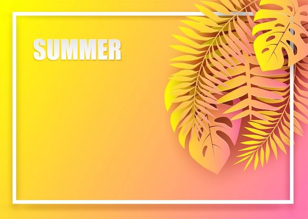 Fundo de férias tropicais de verão. design com folhas tropicais coloridas. estilo de arte em papel.