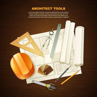 Fundo de ferramentas de arquiteto de construção