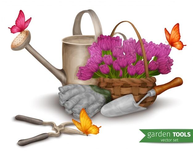 Fundo de ferramentas de jardim
