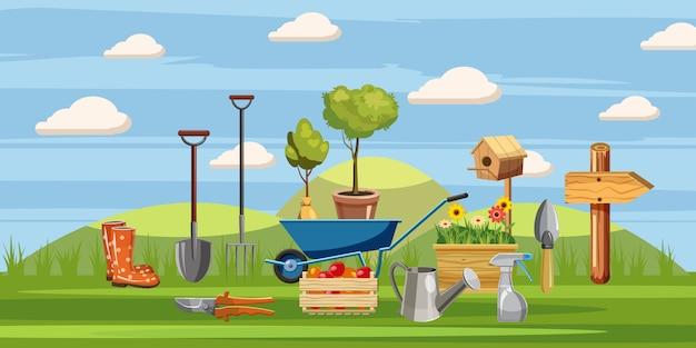 Fundo de ferramentas de jardineiro