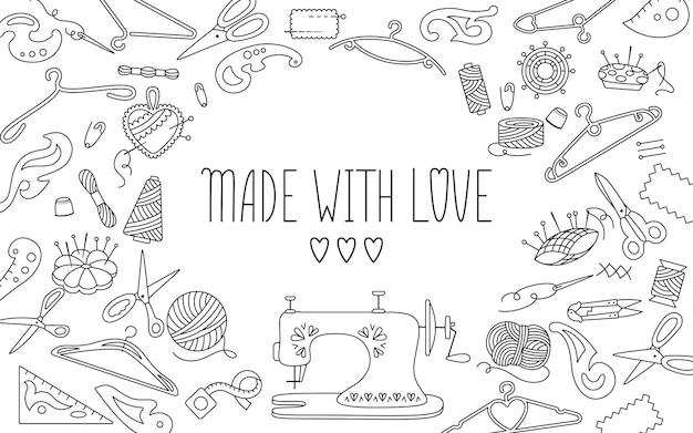 Fundo de ferramentas de linha de costura para texto, feito com amor, linha e tesoura, fio, barra de agulha, agulha de pino. acessórios de costura para hobby. costura costura costura costura fantasia