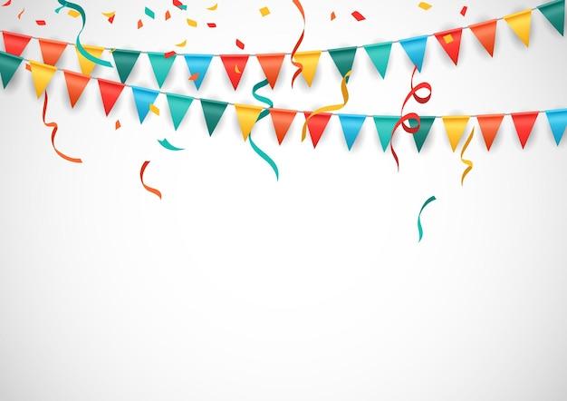Fundo de festa com bandeiras coloridas e fundo branco isolado de confetes.