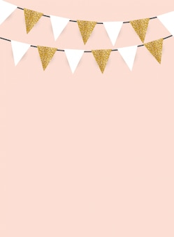 Fundo de festa com bandeiras de glitter dourado