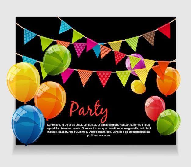 Fundo de festa com bandeiras e balões