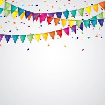 Fundo de festa com bandeiras e confetes