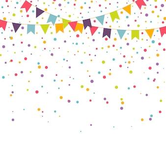 Fundo de festa com guirlandas coloridas e confetes, ilustração vetorial