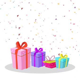 Fundo de festa com presentes coloridos e confetes.