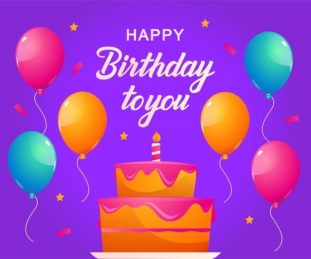 Fundo de festa de aniversário com balões e bolos de aniversário