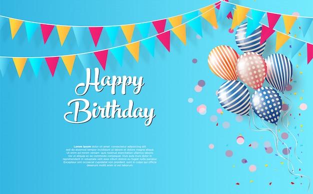 Fundo de festa de aniversário com escrita preta feliz aniversário