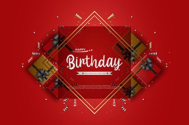 Fundo de festa de aniversário com ilustração 3d de caixa de presente
