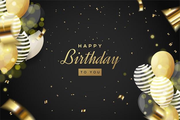 Fundo de festa de aniversário com ilustração de balões 3d e pedaços rasgados de papel dourado.