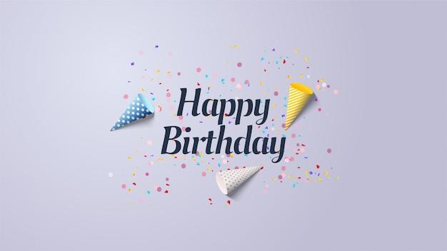 Fundo de festa de aniversário com ilustrações de chapéu de aniversário colorido.