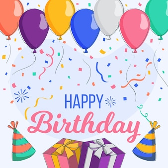 Fundo de festa de aniversário de design plano com balões