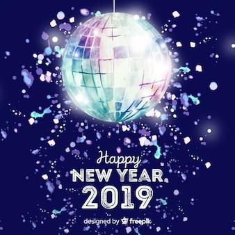 Fundo de festa de ano novo bola de discoteca