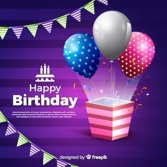 Fundo de festa de feliz aniversário realista
