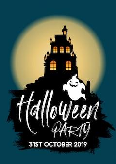 Fundo de festa de halloween com castelo e fantasma
