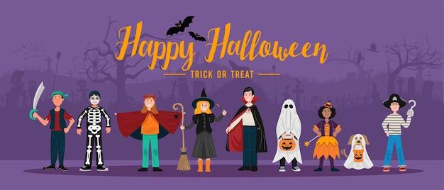 Fundo de festa de halloween, crianças em fantasias de halloween.