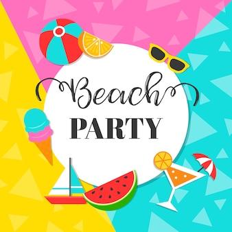 Fundo de festa de verão colorido praia