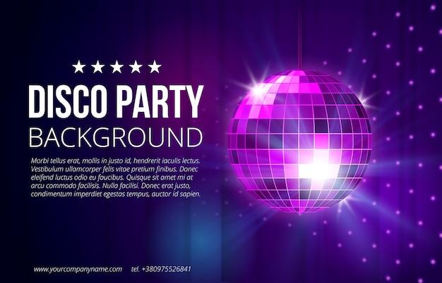 Fundo de festa discoteca. bola, boate e vida noturna, esfera brilhante e brilhante, ilustração vetorial