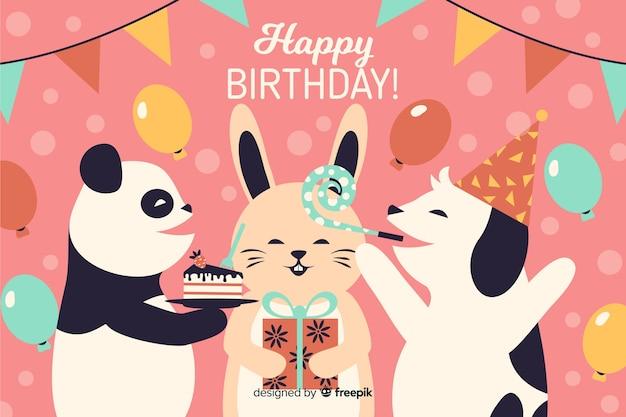 Fundo de festa feliz aniversário plana