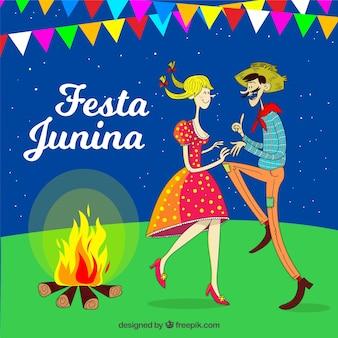 Fundo de festa junina com casal dançando
